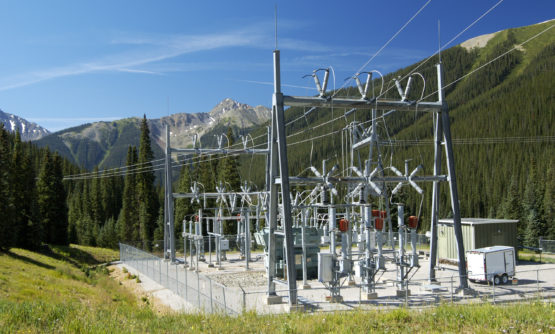Electrical power substation in a power grid.